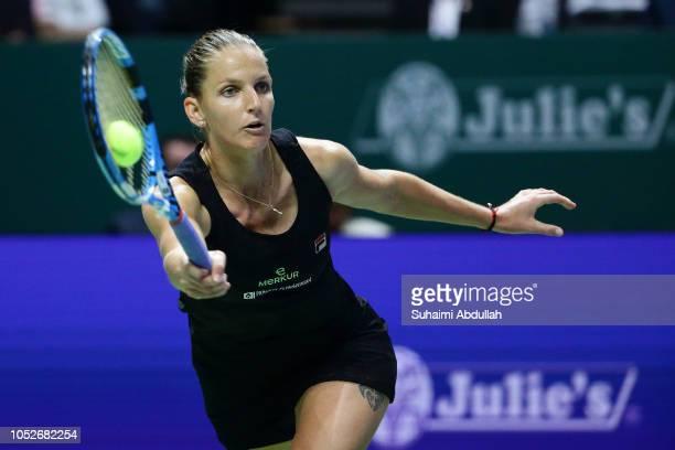 Karolina Pliskova of Czech Republic hits a return in her singles match against Caroline Wozniacki of Denmark during day 1 of the BNP Paribas WTA...