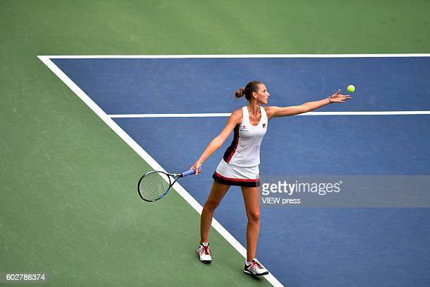 Karolina Pliskova of Czech Republic in action against Angelique Kerber of Germany against during their Women's Singles Final Match of the 2016 US...