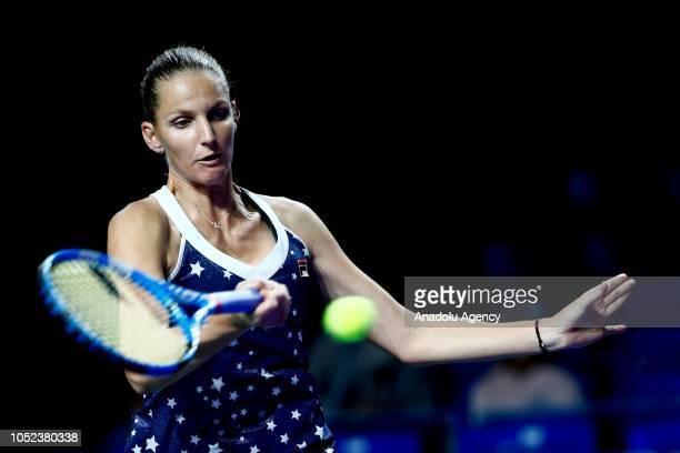 Karolina Pliskova of Czech Republic in action against Vera Zvonareva of Russia during the women's singles tennis qualifying match the 2018 VTB...