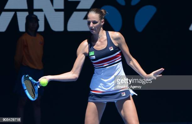 Karolina Pliskova of Czech Republic in action against Veronica Cepede Royg during 2018 Australian Open tennis tournament in Melbourne Australia on...
