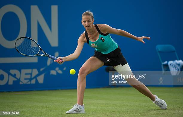 Karolina Pliskova of Czech Republic in action during her match against Monica Puig of Peru on day six of the WTA Aegon Open on June 11 2016 in...