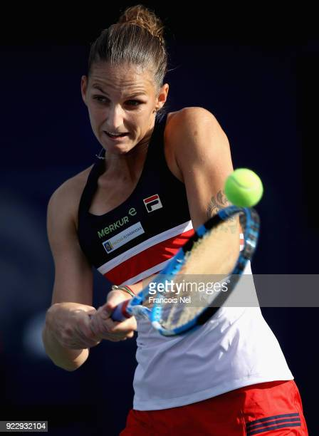Karolina Pliskova of Czech Republic in action during her quarter final match against Angelique Kerber of Germany on day four of the WTA Dubai Duty...