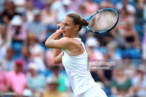 Karolina Pliskova of Czech Republic in action during her women's singles match against Elise Mertens of Belgium during day three of the Nature Valley...