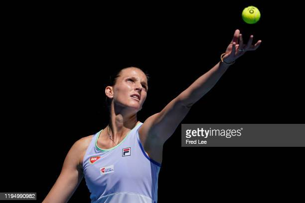 Karolina Pliskova of Czech Republic in action during her Women's Singles first round match against Kristina Mladenovic of France on day two of the...