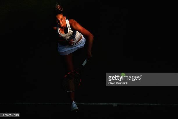 Karolina Pliskova of Czech Republic in action during her Women's Singles Second Round match againstSvetlana Kuznetsova of Russia during day four of...