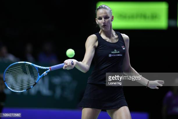 Karolina Pliskova of Czech Republic in action during the Womens Singles semifinal match against Sloane Stephens of United States on day 7 of the 2018...