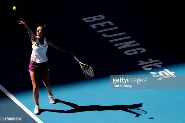 Karolina Pliskova of Czech Republic in action with Kristyna Pliskova in the Women's doubles Semi-final match against Dayana Yastremska of the Ukraine...
