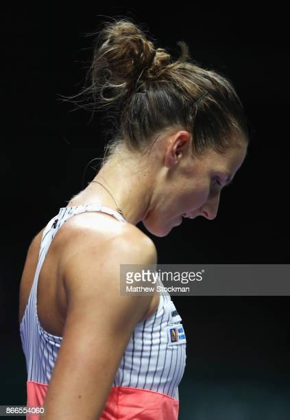 Karolina Pliskova of Czech Republic looks dejected in her singles match against Jelena Ostapenko of Latvia during day 5 of the BNP Paribas WTA Finals...