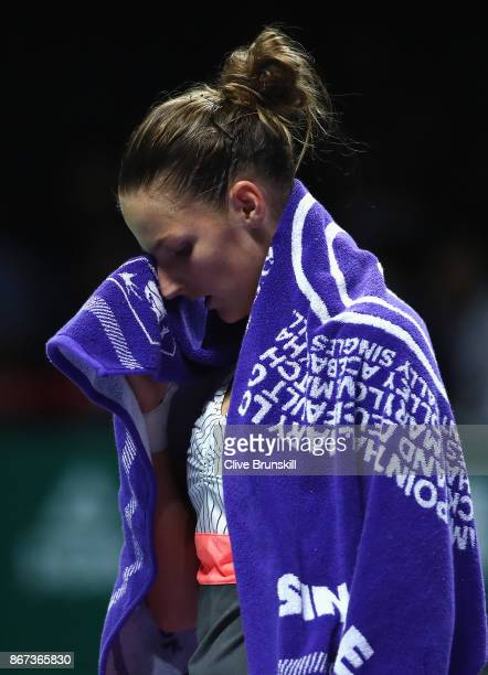 Karolina Pliskova of Czech Republic looks dejected in the singles semi final match against Caroline Wozniacki of Denmark during day 7 of the BNP...