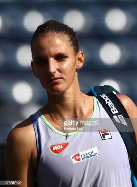 Karolina Pliskova of Czech Republic looks on after victory against Kristina Mladenovic of France during Day Three of the Dubai Duty Free Tennis at...