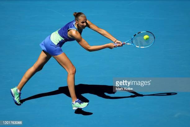 Karolina Pliskova of Czech Republic plays a backhand during her Women's Singles third round match against Anastasia Pavlyuchenkova of Russia on day...