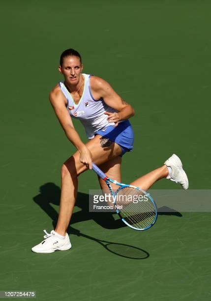 Karolina Pliskova of Czech Republic plays a forehand against Kristina Mladenovic of France during Day Three of the Dubai Duty Free Tennis at Dubai...