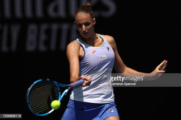 Karolina Pliskova of Czech Republic plays a forehand during her Women's Singles first round match against Kristina Mladenovic of France on day two of...