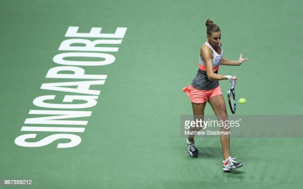 Karolina Pliskova of Czech Republic plays a forehand in her singles semi final match against Caroline Wozniacki of Denmark during day 7 of the BNP...