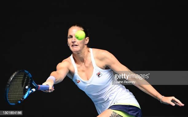 Karolina Pliskova of Czech Republic plays a forehand in her Women's Singles third round match against Karolina Muchova of Czech Republic during day...