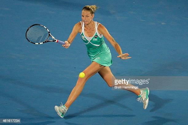 Karolina Pliskova of Czech Republic plays a forehand shot in finals match against Petra Kvitova of Czech Republic during day six of the 2015 Sydney...