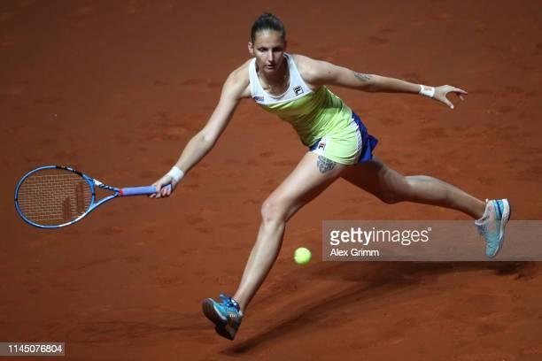 Karolina Pliskova of Czech Republic plays a forehand to Victoria Azarenka of Belarus during their round of 16 match on day 4 of the Porsche Tennis...
