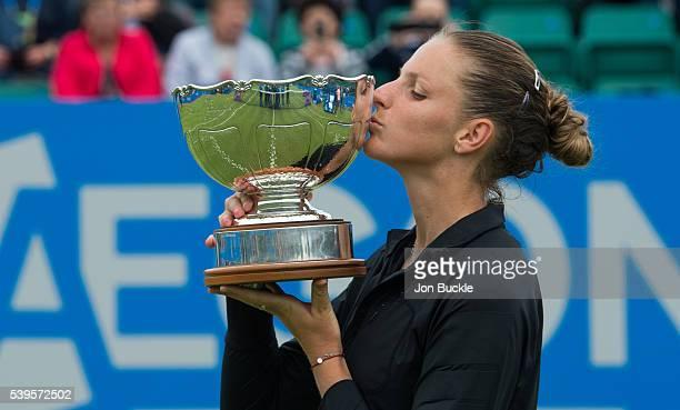 Karolina Pliskova of Czech Republic poses with Elena Baltacha Trophy on day seven of the WTA Aegon Open on June 12 2016 in Nottingham England