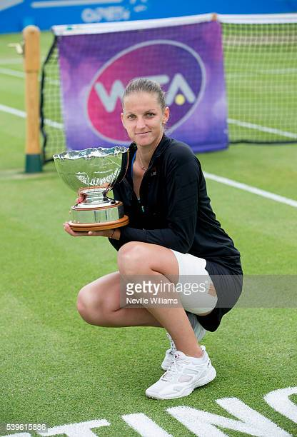 Karolina Pliskova of Czech Republic poses with Elena Baltacha Trophy on day seven of the WTA Aegon Open on June 12 2016 in Nottingham England