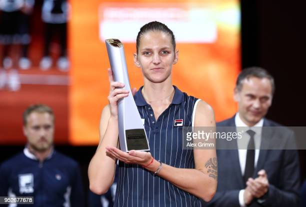 Karolina Pliskova of Czech Republic poses with the trophy after the singles final between Karolina Pliskova of Czech Republic and Coco Vandewghe of...