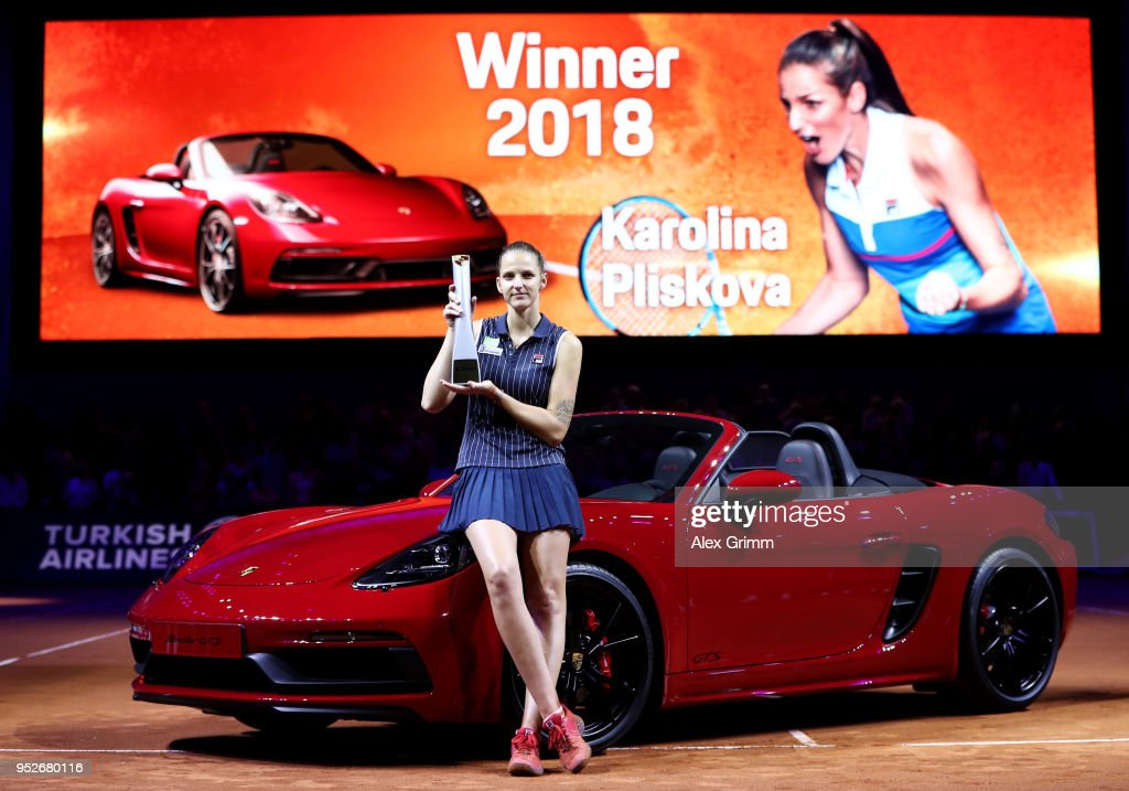 Karolina Pliskova of Czech Republic poses with the trophy after the singles final between Karolina Pliskova of Czech Republic and Coco Vandewghe of The United States on day 7 of the Porsche Tennis Grand Prix at Porsche-Arena on April 29, 2018 in Stuttgart, Germany.