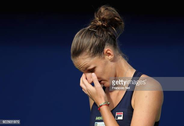 Karolina Pliskova of Czech Republic reacts during her quarter final match against Angelique Kerber of Germany on day four of the WTA Dubai Duty Free...
