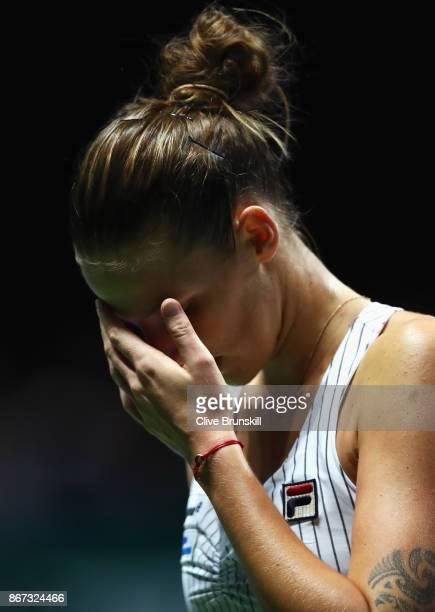 Karolina Pliskova of Czech Republic reacts in her singles semi final match against Caroline Wozniacki of Denmark during day 7 of the BNP Paribas WTA...