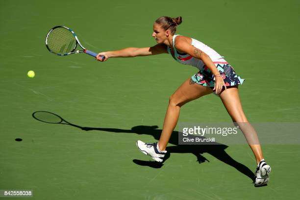 Karolina Pliskova of Czech Republic returns a shot against Jennifer Brady of the United States during their Women's Singles fourth round match on Day...