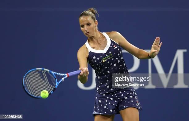 Karolina Pliskova of Czech Republic returns the ball during her women's singles third round match against Sofia Kenin of the United States on Day...