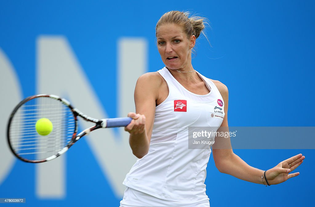 Karolina Pliskova of Czech Republic returns the ball in her singles final match against Angelique Kerber of Germany on day seven of the Aegon Classic at Edgbaston Priory Club on June 21, 2015 in Birmingham, England.