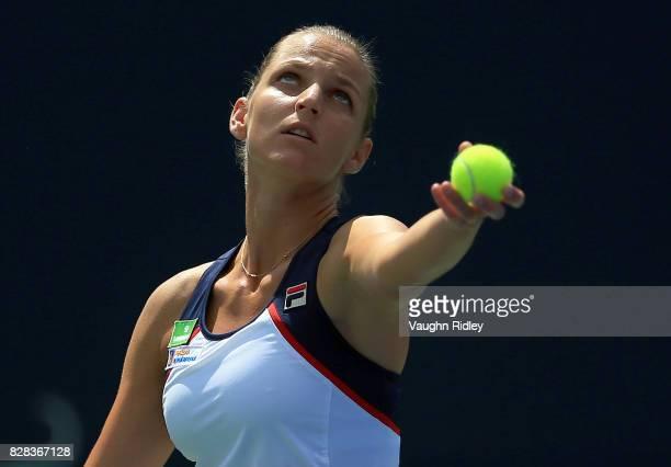 Karolina Pliskova of Czech Republic serves against Anastasia Pavlyuchenkova of Russia during Day 5 of the Rogers Cup at Aviva Centre on August 9 2017...