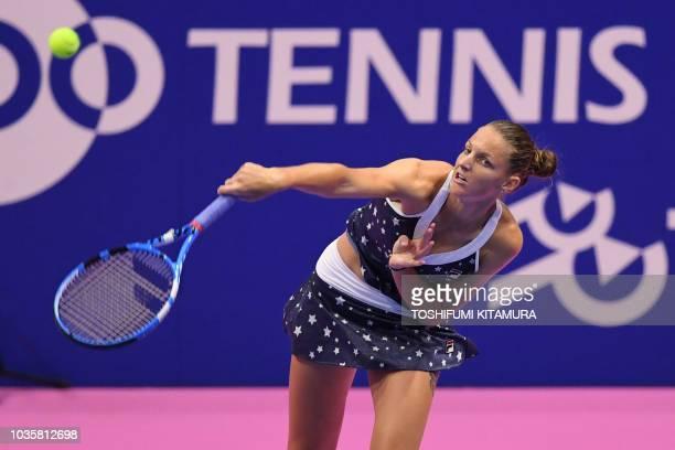 Karolina Pliskova of Czech Republic serves against Daria Gavrilova of Australia during their women's singles second round match at the Pan Pacific...