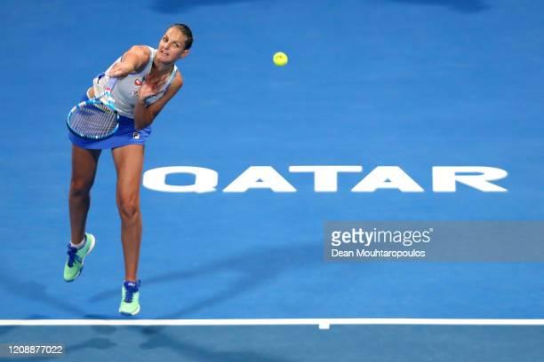 Karolina Pliskova of Czech Republic serves against Ons Jabeur of Tunisia during Day 4 of the WTA Qatar Total Open 2020 at Khalifa International...