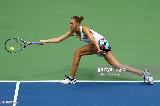 Karolina Pliskova of Czech Republic serves against Shuai Zhang of China during their Women's Singles third round match on Day Six of the 2017 US Open...