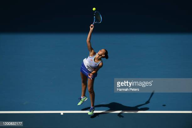 Karolina Pliskova of Czech Republic serves during her Women's Singles first round match against Kristina Mladenovic of France on day two of the 2020...