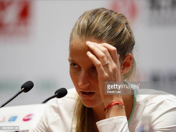Karolina Pliskova of Czech Republic speaks at a press conference during Day 1 of 2017 Wuhan Open on September 24 2017 in Wuhan China