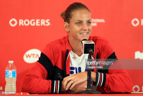 Karolina Pliskova of Czech Republic speaks to the media after defeating Anastasia Pavlyuchenkova of Russia during Day 5 of the Rogers Cup at Aviva...