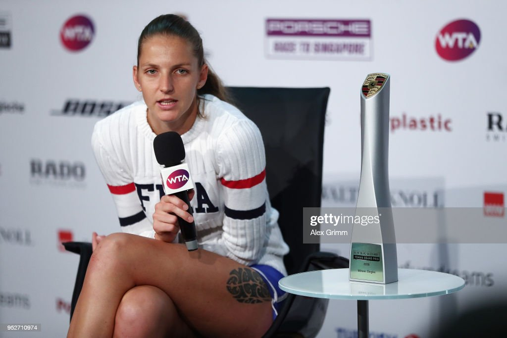Karolina Pliskova of Czech Republic talks to the media after winning the singles final match against CoCo Vandeweghe of the United States on day 7 of the Porsche Tennis Grand Prix at Porsche-Arena on April 29, 2018 in Stuttgart, Germany.