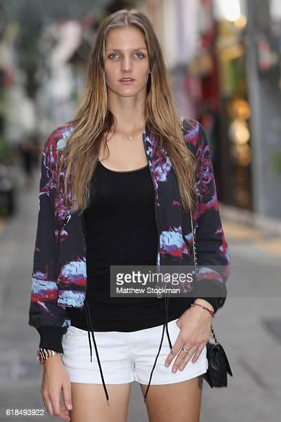 Karolina Pliskova of Czech Republic visits Haji Lane in the Kampong Glam neighbourhood before the BNP Paribas WTA Finals on October 20 2016 in...