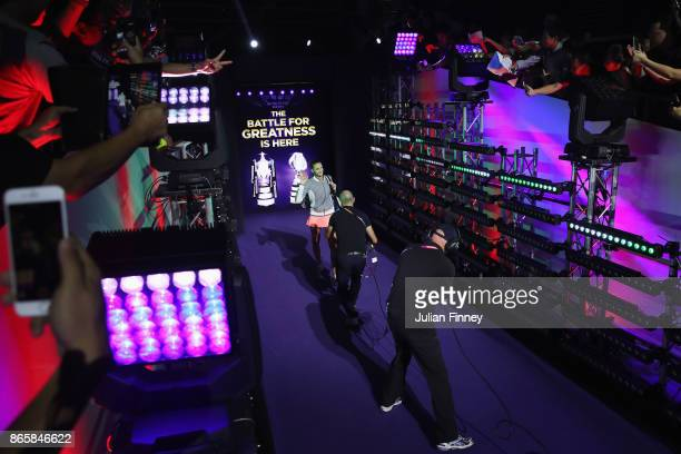 Karolina Pliskova of Czech Republic walks out for her singles match against Garbine Muguruza of Spain during day 3 of the BNP Paribas WTA Finals...
