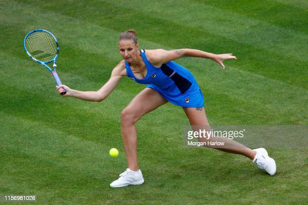 Karolina Pliskova of Czech Republicplays a forehand shot during her second round match agains Kristyna Pliskova of Czech Republic during day three of...