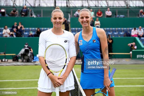 Karolina Pliskova of the Czech Republic and twin sister Kristyna Pliskova of the Czech Republic pose for a photo ahead of their second round match...