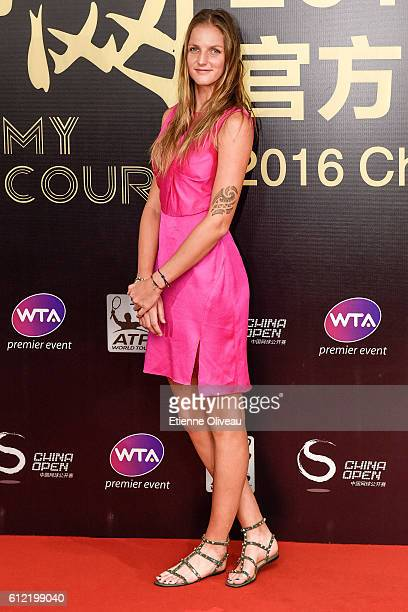 Karolina Pliskova of the Czech Republic arrives at the 2016 China Open Player Party at The Birds Nest on October 3 2016 in Beijing China