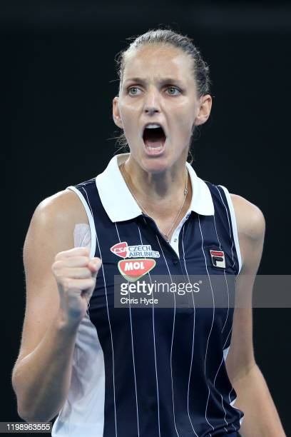 Karolina Pliskova of The Czech Republic celebrates a point in the finals match against Madison Keys of the USA during day seven of the 2020 Brisbane...