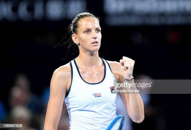 Karolina Pliskova of the Czech Republic celebrates after winning a break point in her match against Ajla Tomljanovic of Australia during day six of...