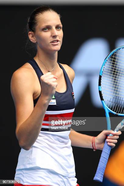 Karolina Pliskova of the Czech Republic celebrates after winning her third round match against Lucie Safarova of the Czech Republic on day six of the...