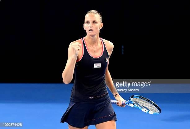 Karolina Pliskova of the Czech Republic celebrates after winning the second set in the Women's Finals match against Lesia Tsurenko of Ukraine during...