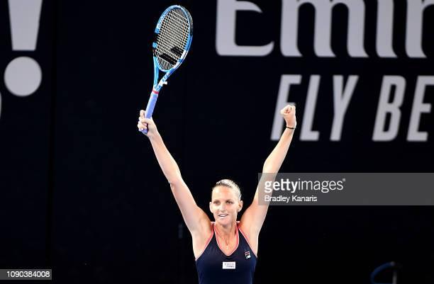 Karolina Pliskova of the Czech Republic celebrates after winning the match in the Women's Finals match against Lesia Tsurenko of Ukraine during day...