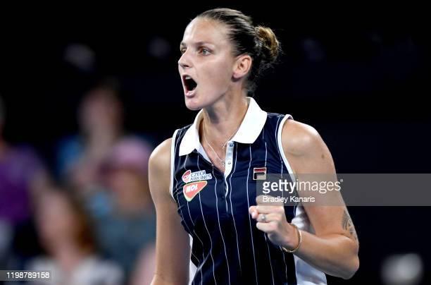 Karolina Pliskova of The Czech Republic celebrates after winning the second set in her semi final match against Naomi Osaka of Japan during day six...