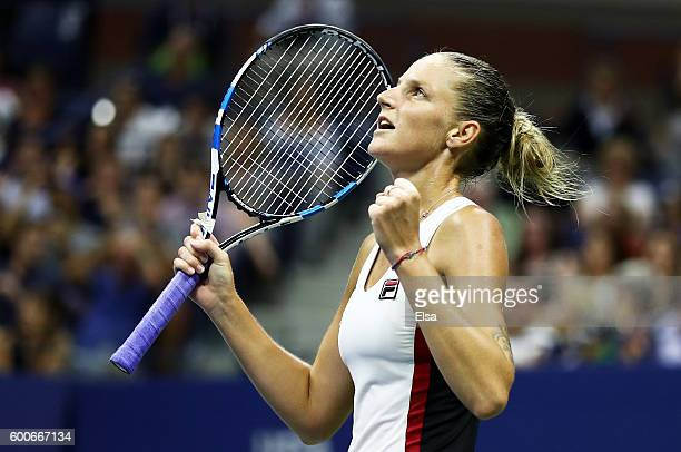 Karolina Pliskova of the Czech Republic celebrates defeating Serena Williams of the United States 62 76 during their Women's Singles Semifinal Match...
